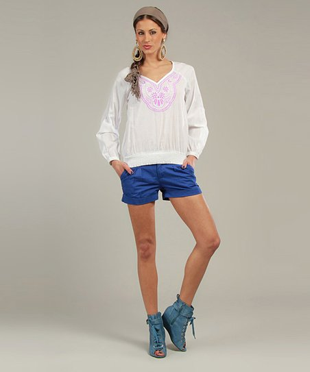 Purple & White Long-Sleeve V-Neck Top