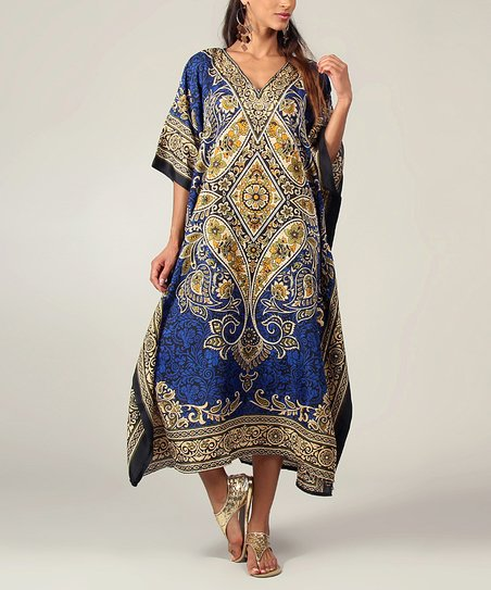 Royal Blue Arabesque Cape-Sleeve Dress - Women