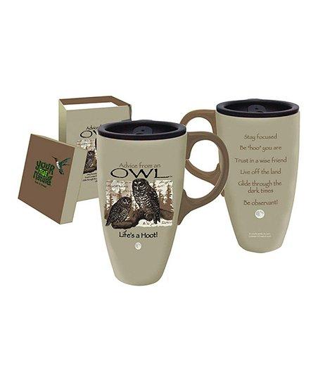 Owl Advice 17-Oz. Ceramic Travel Mug