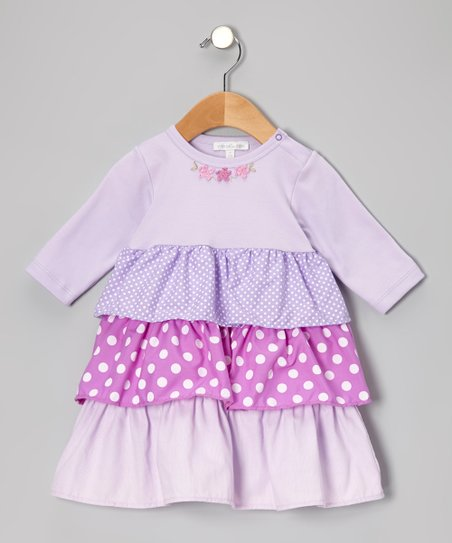 Lilac Dot Tiered Dress - Infant & Toddler