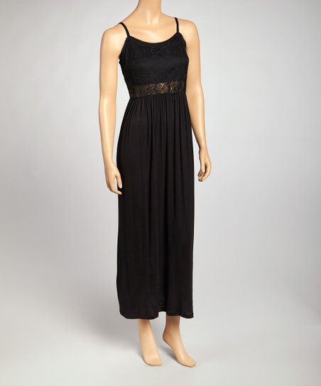 Black Lace Maxi Dress - Women