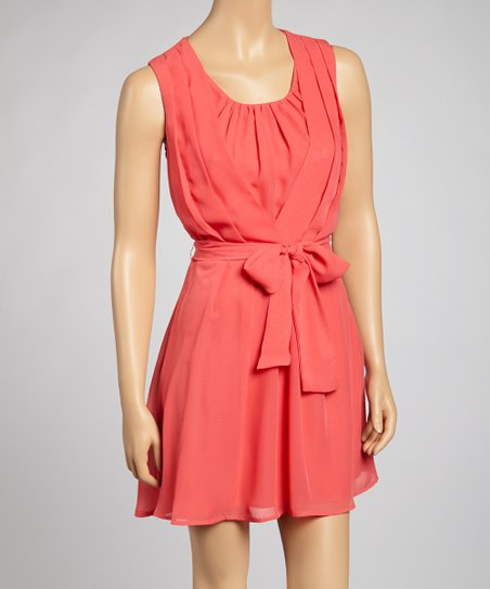 Coral Pleated Tie-Waist Dress