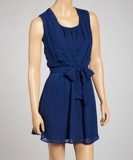 Navy Pleated Tie-Waist Dress