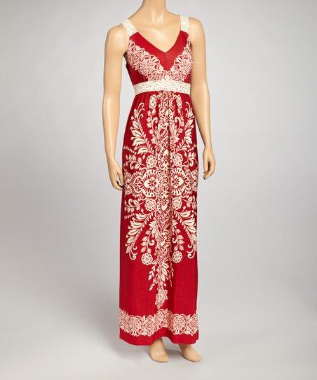 Red & Ivory Batik Maxi Dress