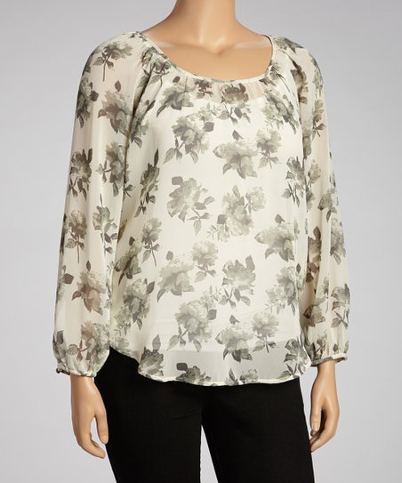 Ivory & Green Lace-Back Top - Women & Plus