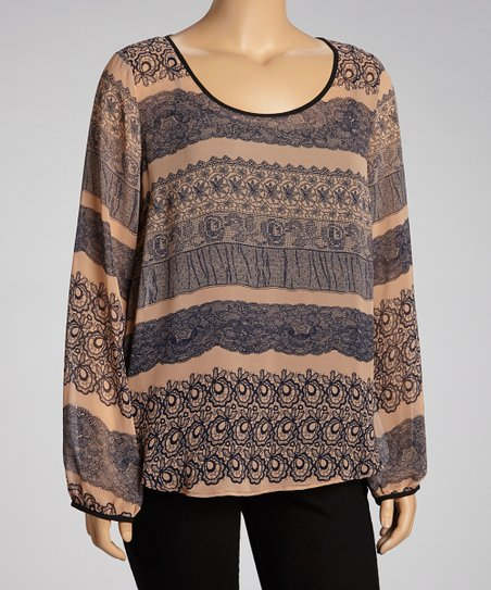 Navy & Peach Long-Sleeve Dolman Top - Plus