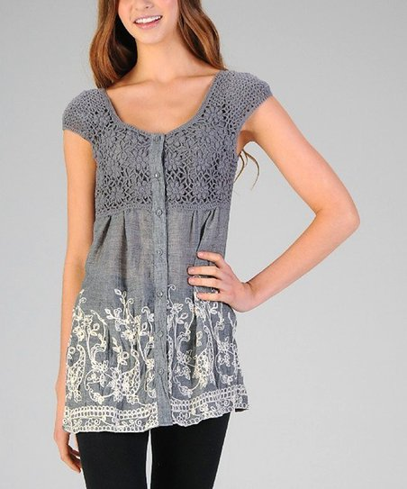 Charcoal Crocheted Embroidered Button-Up Top