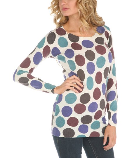 Ecru & Teal Polka Dot Long Sleeve Top