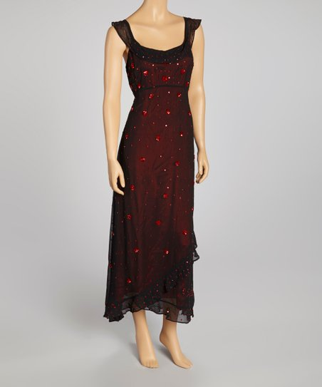 Black & Red Sequin Sleeveless Dress