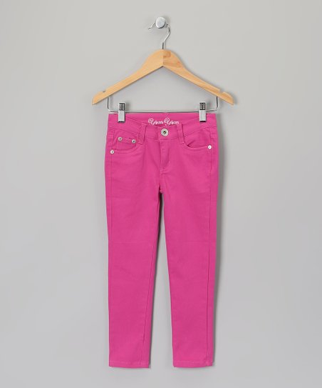 Magenta Skinny Pants - Girls
