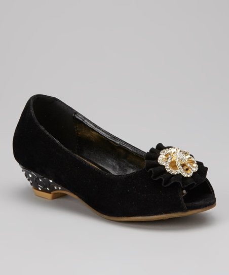 Black Charm Kitten Heel