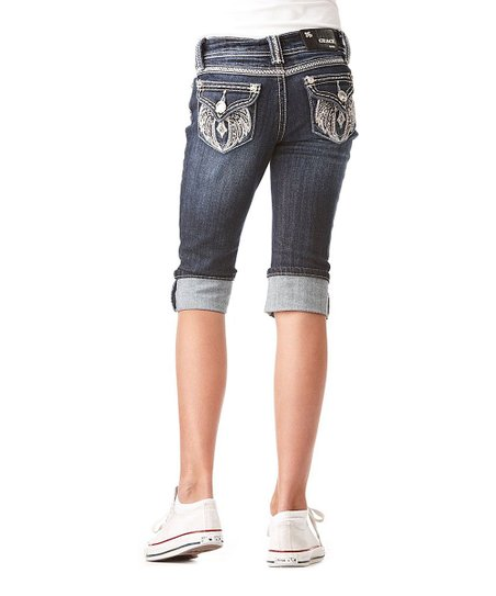 Dark Wash Wing Cross Denim Capri Pants