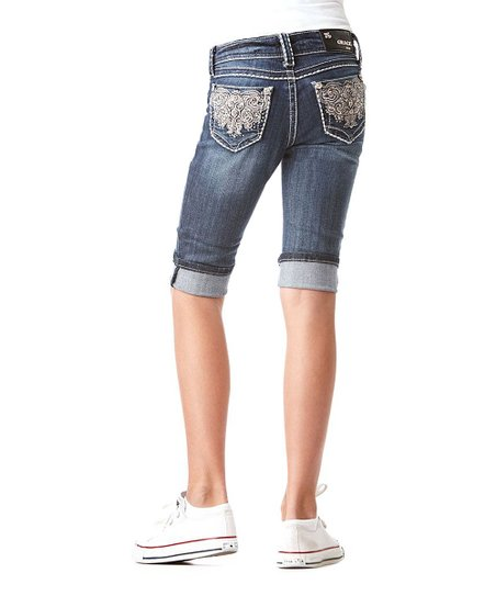 Medium Wash Swirl Denim Capri Pants