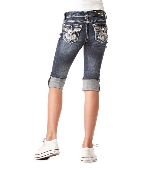 Dark Wash Fleur-De-Lis Crest Cuffed Denim Capri Pants