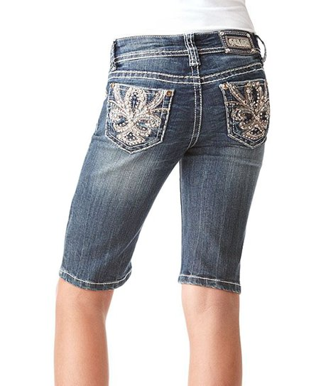 Medium Wash Fleur-de-Lis Distressed Denim Bermuda Shorts