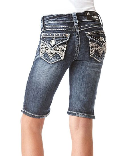 Medium Wash Tribal Denim Bermuda Shorts