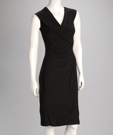 Black Collar Surplice Dress