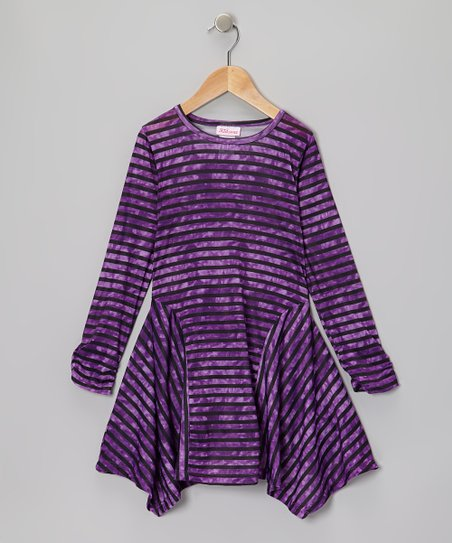 Purple Stripe Handkerchief Dress - Girls