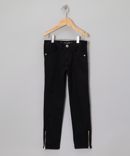 Black Zipper-Cuff Jeans - Girls