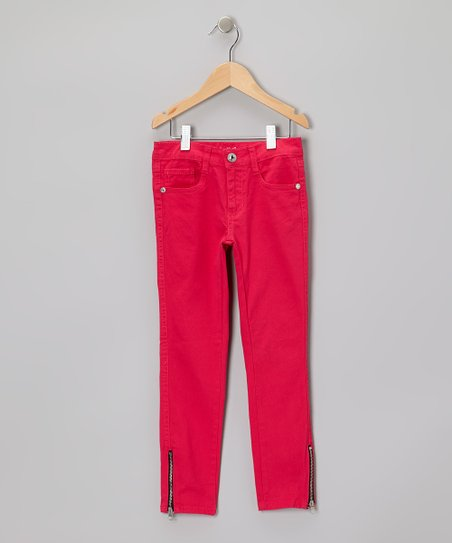 Dark Pink Zipper-Cuff Jeans - Girls