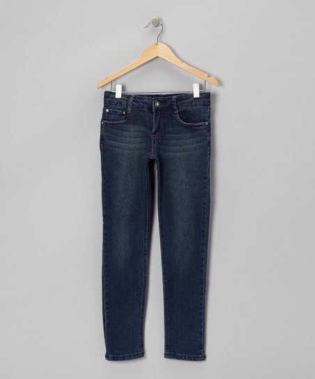 Medium Wash & Pink Skinny Jeans - Girls