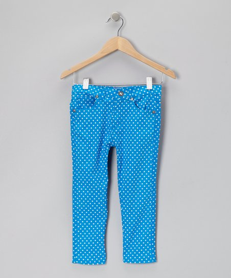Royal Polka Dot Skinny Jeans - Girls