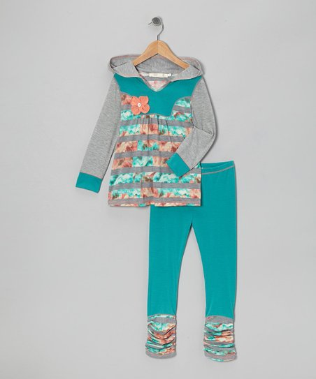 Gray & Aqua Floral Hooded Tunic & Leggings - Toddler & Girls