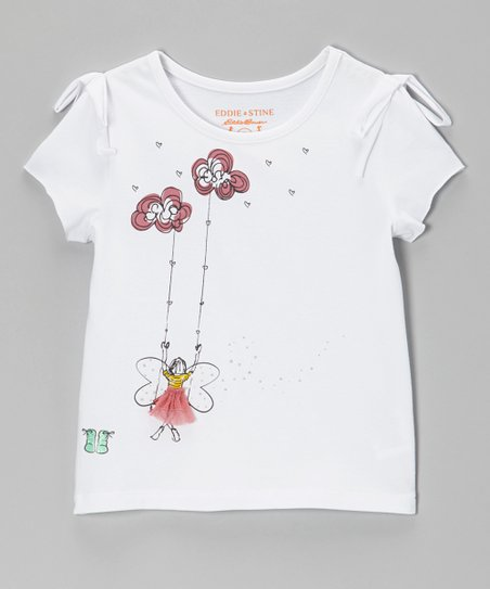 White Daydreamer Knotted Tee - Toddler & Girls