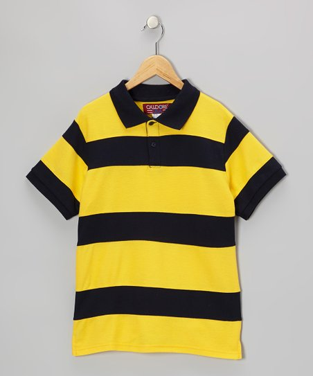 Yellow & Navy Stripe Polo