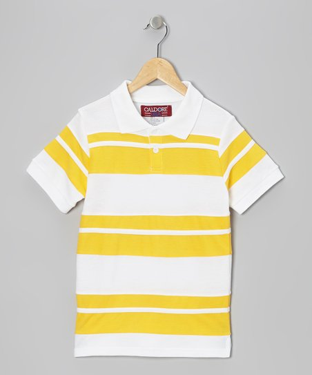 White & Yellow Stripe Polo