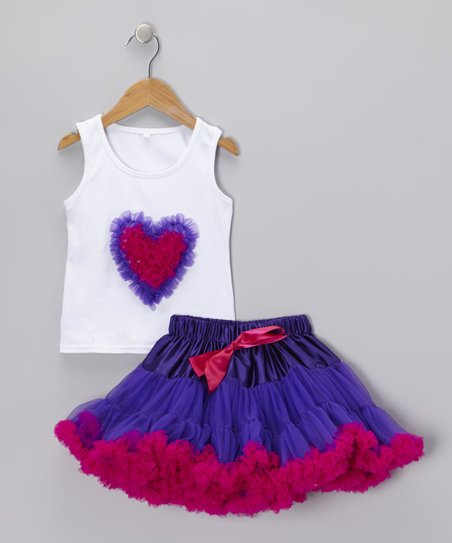 White Heart Tank & Purple Pettiskirt - Infant & Toddler