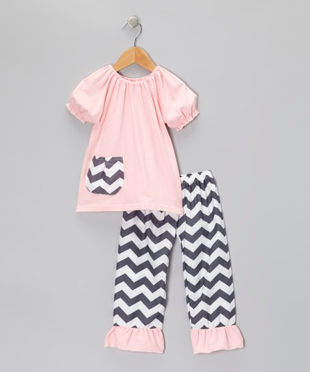 Pink Peasant Top & Black Zigzag Pants - Toddler & Girls