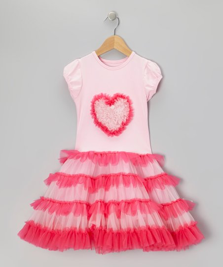 Pink Heart Tiered Tutu Dress - Infant