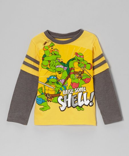 Yellow TMNT 'Raise Some Shell' Layered Tee - Toddler