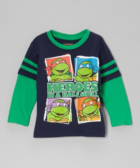 Blue TMNT 'Heroes in a Half Shell' Layered Tee - Toddler