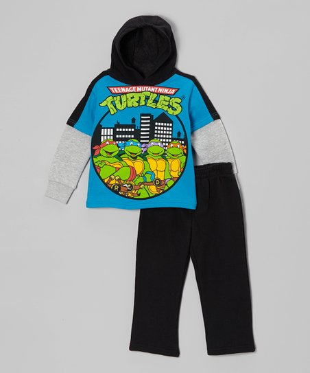 Blue & Black TMNT Hooded Tee & Pants - Toddler