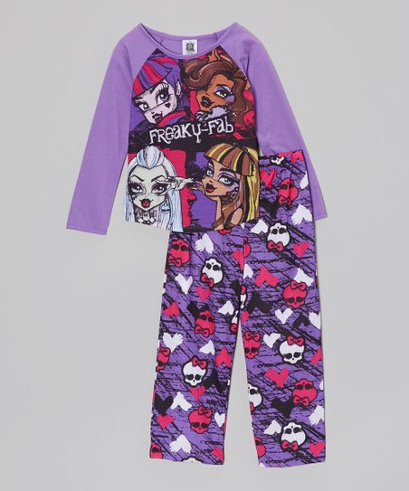Purple & Black 'Freaky Fab' Pajama Set - Girls