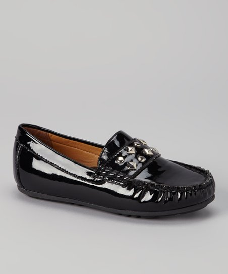 Black Patent Studded Loafer