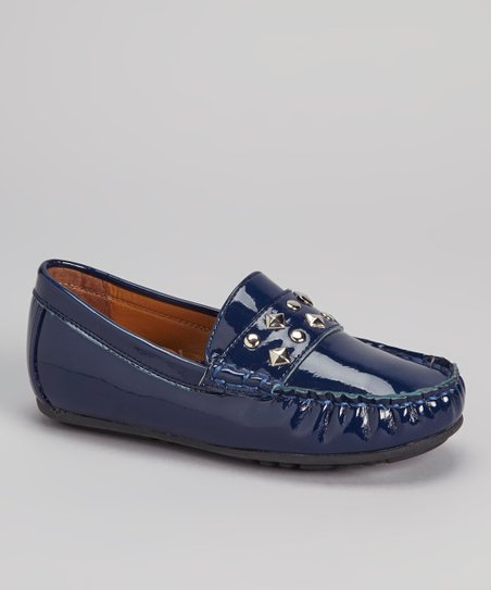 Navy Patent Studded Loafer