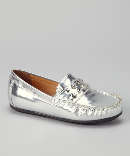 Silver Patent Studded Loafer