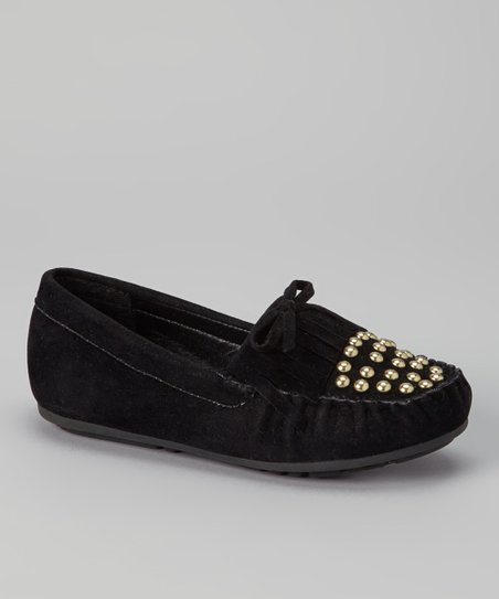 Black Fringe Studded Moccasin