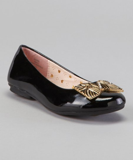 Black Patent Bow Flat