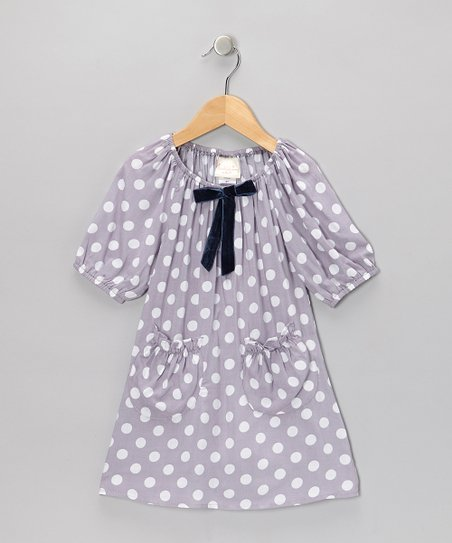 Gray & White Polka Dot Peasant Dress - Toddler & Girls