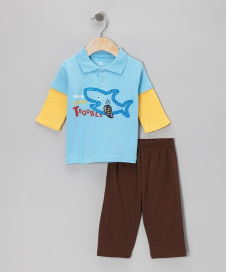 Light Blue Shark Layered Polo & Brown Pants - Infant