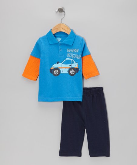 Royal Blue Car Layered Polo & Navy Pants - Infant