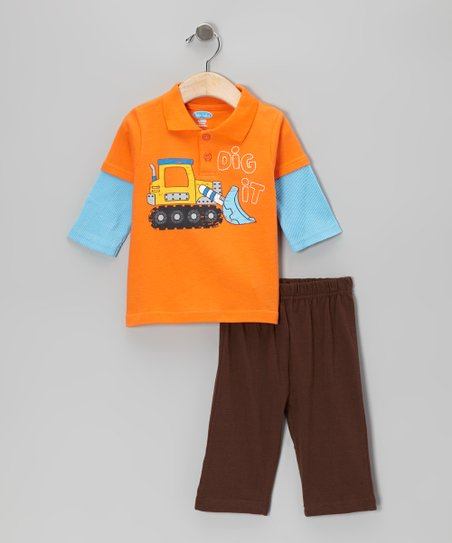 Orange Excavator Layered Polo & Brown Pants - Infant