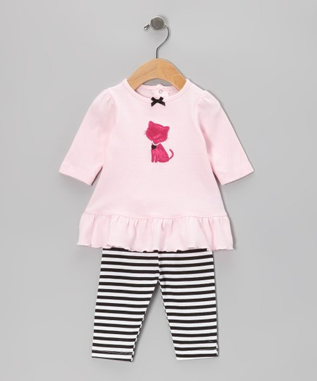 Pink Kitty Ruffle Tunic & Stripe Leggings