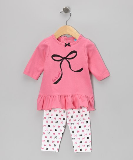 Fuchsia Ruffle Tunic & Bow Leggings - Infant