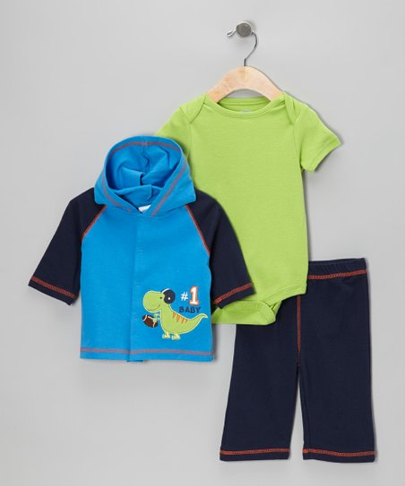 Royal Blue Dinosaur Hooded Cardigan Set