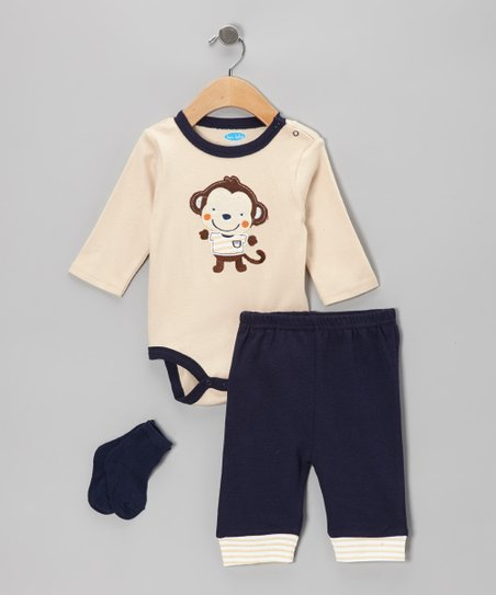 Tan Monkey Appliqué Bodysuit Set - Infant